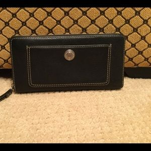 Coach large black leather wallet